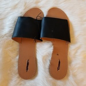 Express Black Slip On Sandals New